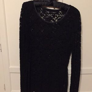 LS all over black lace Maurice's top - L